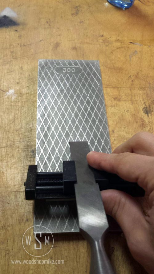 Sharpening Chisel on Trend Whetstone