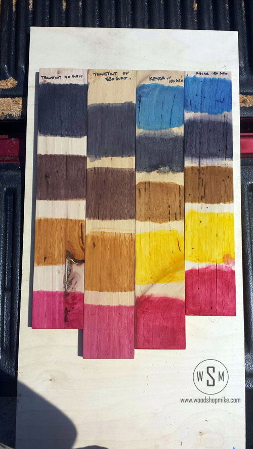 KEYDA Wood Dye & Transtint, After UV Light Test