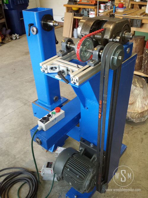 Ready For Work! Big Blue Home Made Wood Lathe