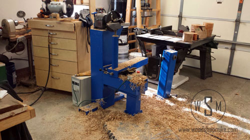 Big Blue Home Made Wood Lathe, After a Platter