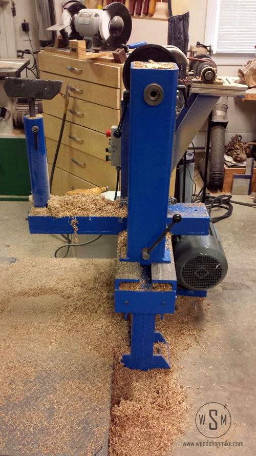 New Motor, Side View, Big Blue Home Made Wood Lathe