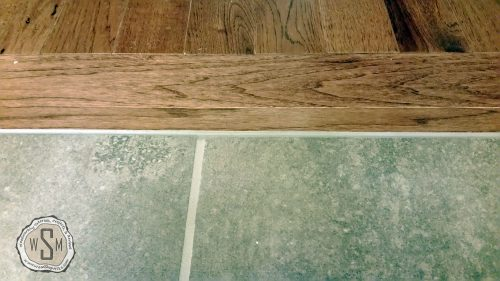 Install Custom Threshold 5, Master Bath Remodel, Flooring