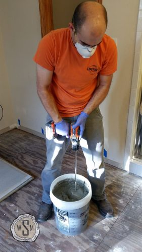 Mixing Mortar, Master Bath Remodel, Flooring