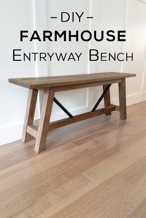 Pinterest Image - DIY Metal and Wood Farmhouse Bench