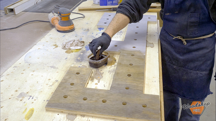 Applying Stain - How to Make a DIY Vintage Marquee Sign