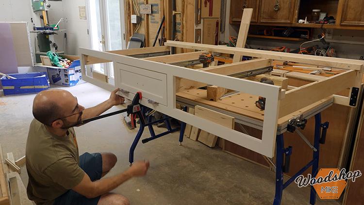 Installing False Drawer DIY Farmhouse Platform Bed