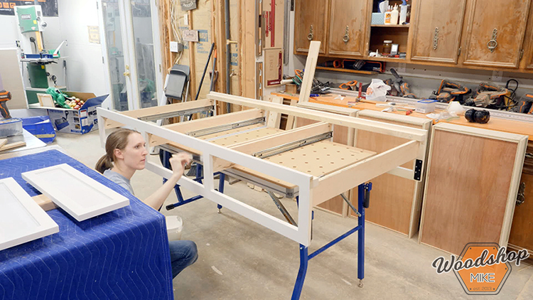 Painting DIY Farmhouse Platform Bed